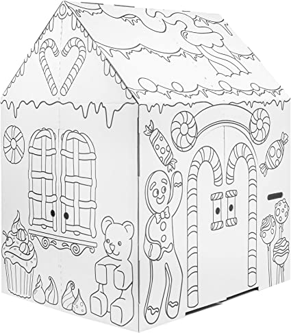 Amazon.com: Easy Playhouse Gingerbread House - Kids Art & Craft For Indoor  Fun, Color Favorite Holiday Sweets & Winter Friends– Decorate & Personalize  A Cardboard Fort, 32