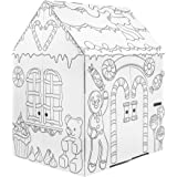Easy Playhouse Gingerbread House - Kids Art & Craft for Indoor Fun, Color Favorite Holiday Sweets & Winter Friends– Decorate