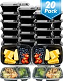 20 Pack Meal Prep Containers 2 Compartment,Microwave,Dishwasher,Freezer Safe,Food Storage Containers with lids-Portion Control