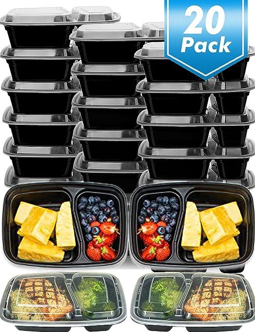 20 unidades] comida Prep recipientes, 2 Compartimiento Bento caja ...