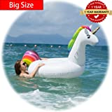 GGBOMM-TM Giant Inflatable Unicorn Pool Float for Adults and Kids Outdoor Vacation Beach Loungers Rapid Valves Summer Beach Swimming Pool Party 108 x 55 x 48 inches