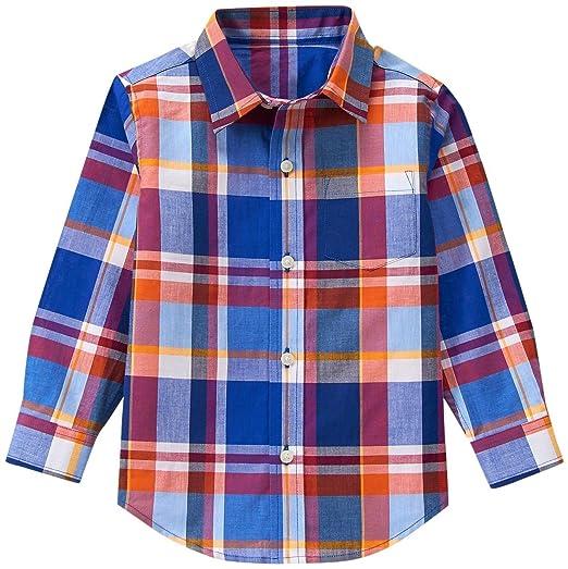 e1397b504 Amazon.com: Janie & Jack Baby Boys' Orange/Blue Plaid Top: Clothing