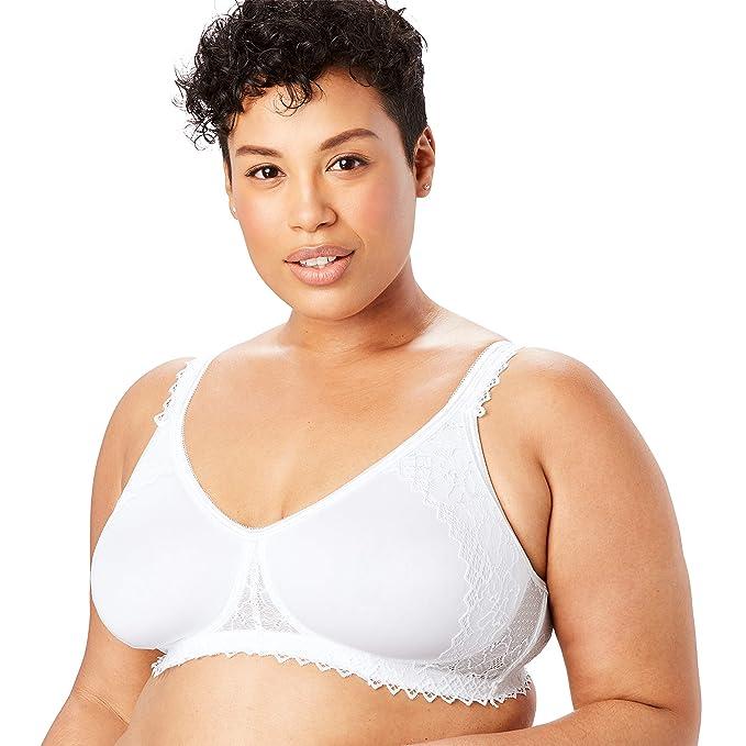 3599c513483 Comfort Choice Women s Plus Size Wireless Lace-Trim T-Shirt Bra - White