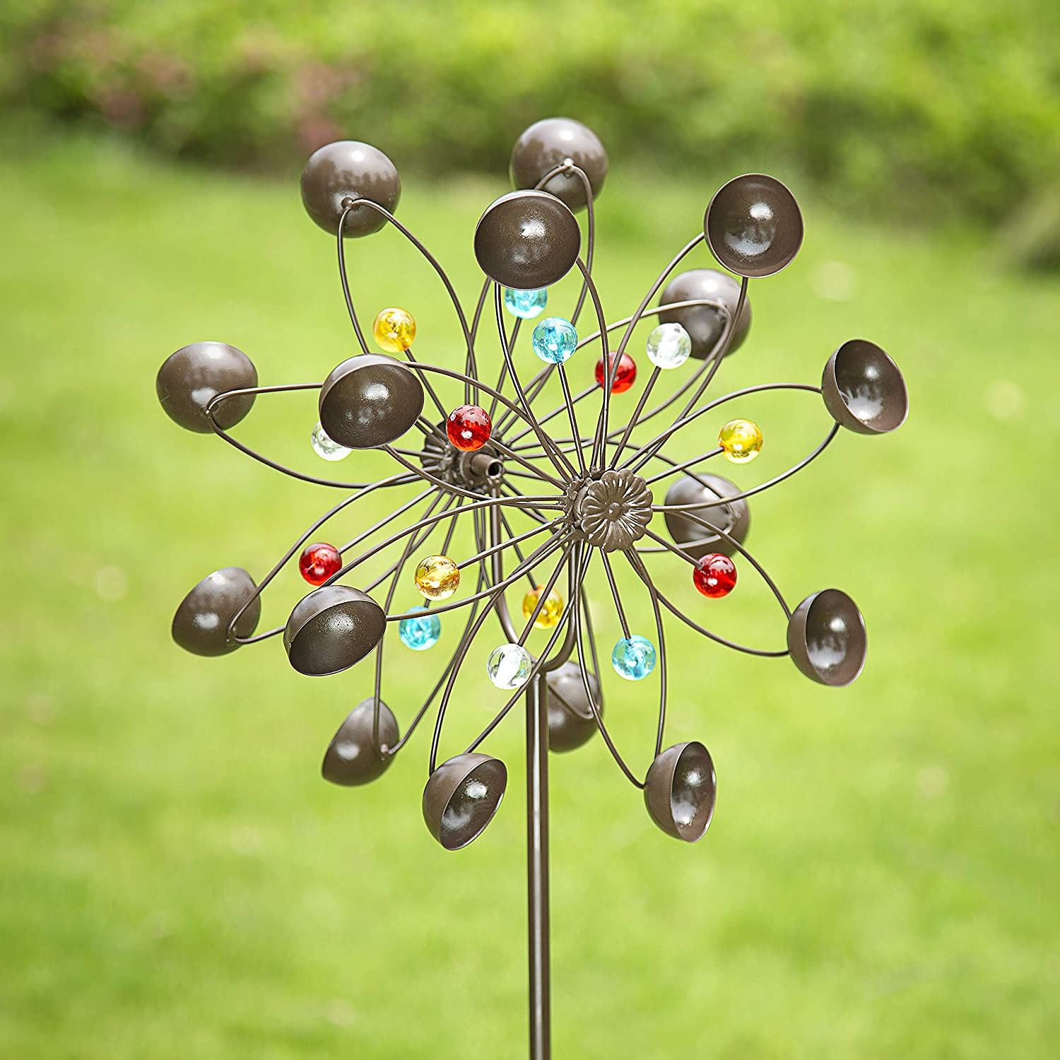 GIGALUMI Yard Wind Spinner, Copper Metal Garden Spinner Dual Rotors Wind Sculpture for Outdoor Décor, Gardening Gifts or Yard Art (Bronze) best gardening gifts