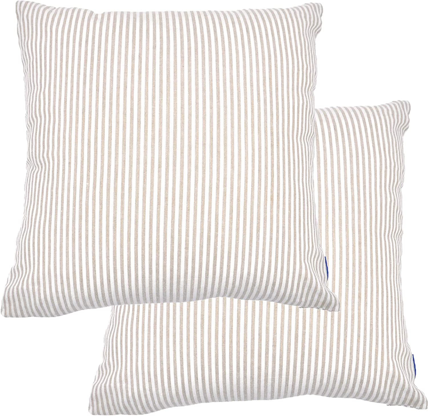JES&MEDIS Pack of 2 Pillowcase Cotton Striped Home Decor Square Throw Pillow Covers Set for Office Bed Car Club 18 x 18 Inches 45 x 45 cm Beige and White