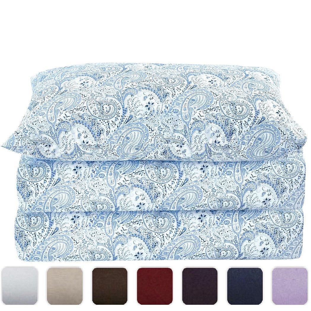 Mellanni ベッドシーツセット 高品質な起毛加工マイクロファイバープリント床敷き 深いマチ しわ 色褪せ 汚れ防止 低刺激 4点Twin XL 757440899120 B01ASDANPK Twin XL|Paisley Blue Paisley Blue Twin XL