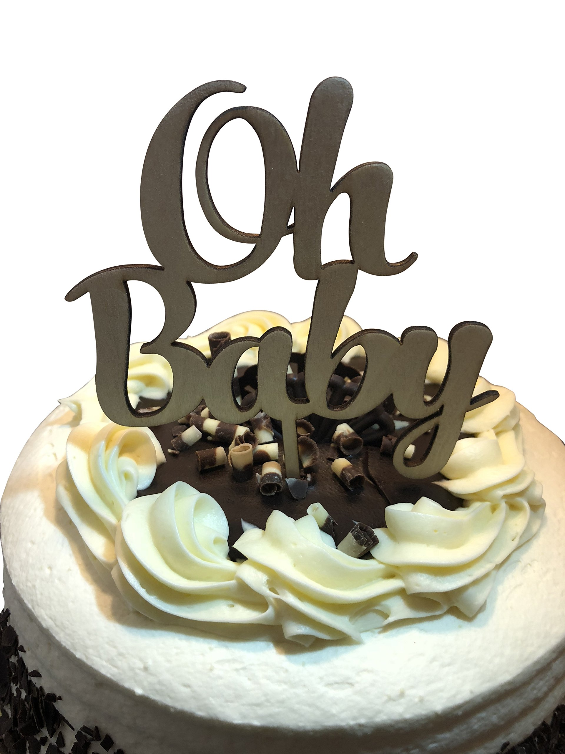 OH BABY Shower Cake Topper - Celebration Cake Decorating Pick Supplies - Wooden Decor Party Cake Toppers - Food Safe Boy Girl Decorations by Jolly Jon