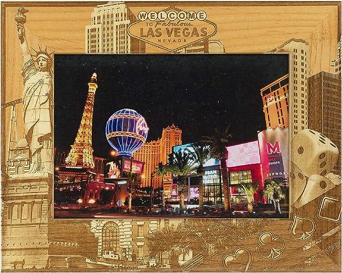 WELCOME TO FABULOUS LAS VEGAS NEVADA BLACK//GOLD GLITTER GLASS PHOTO FRAME