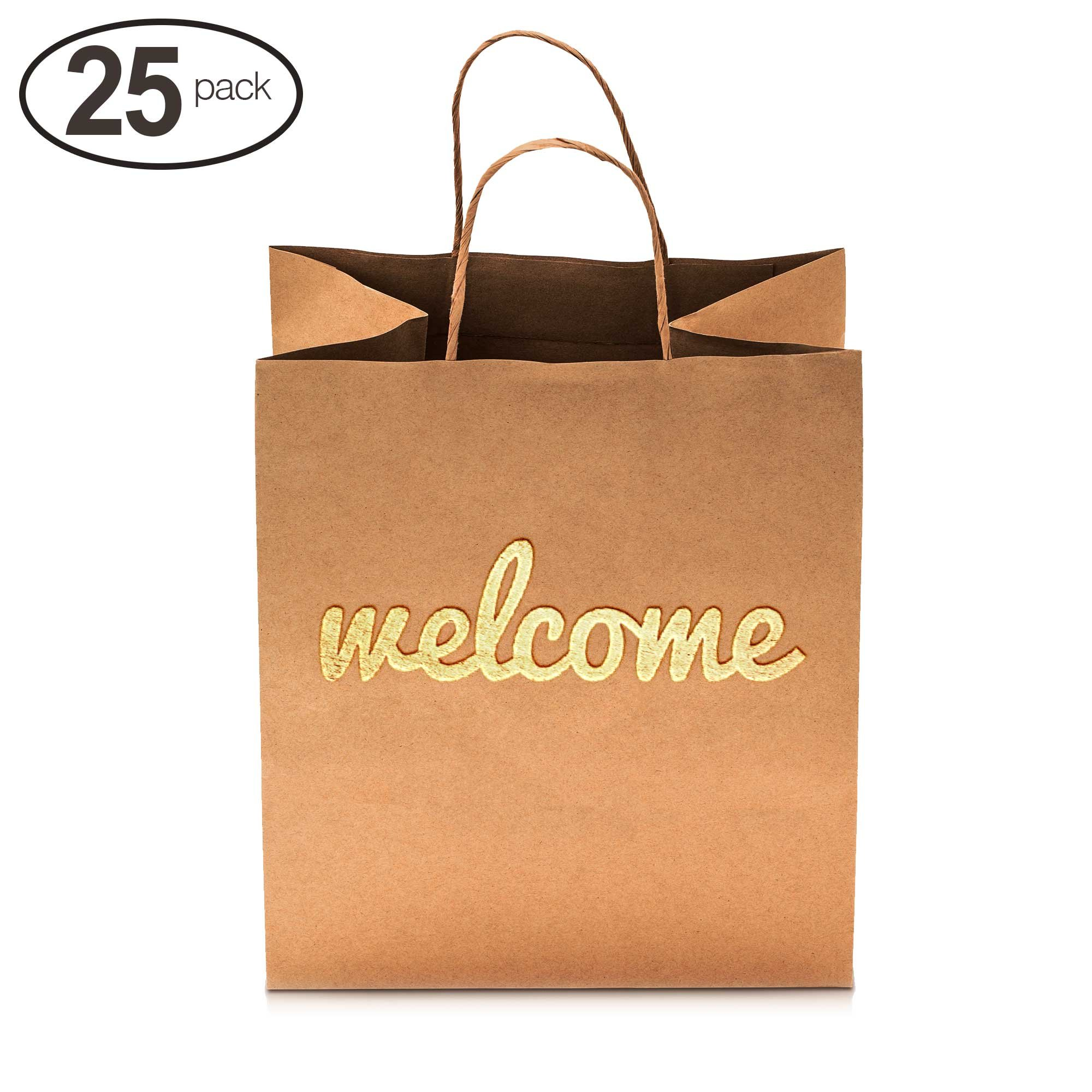 Merry Expressions - Wedding Welcome Gift Bags - Luxury 25 Pack - Size 10.5'' x 8.25'' - Premium Gold Welcome Printed on Both Sides - Cute High Quality Bags Perfect for Your Bridesmaids and Party Guests