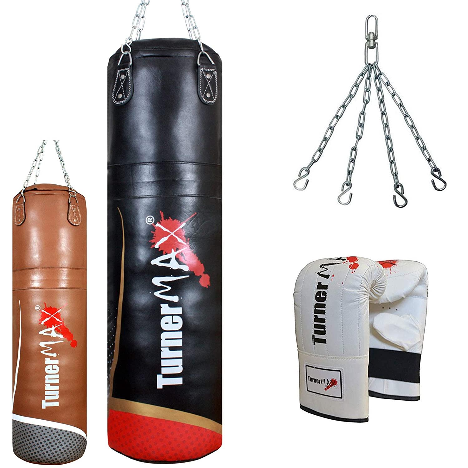 TurnerMAX Genuine Leather Heavy Punch Bag Gym Workout Training Punching Kick Boxing Punchbags with Chain and Gloves