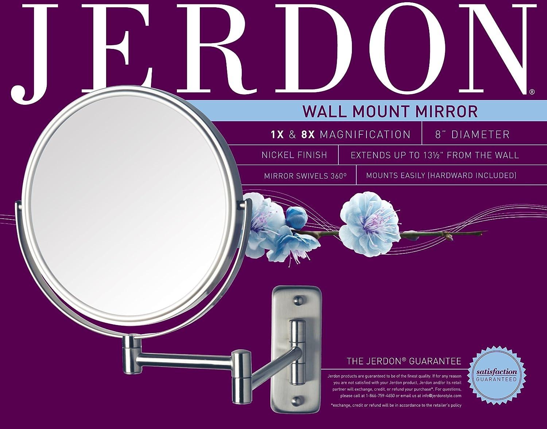 Amazon.com : Jerdon JP7808N Wall Mount Mirror, Nickel, 13.5-Inch Extension  : Personal Makeup Mirrors : BeautyAmazon.com
