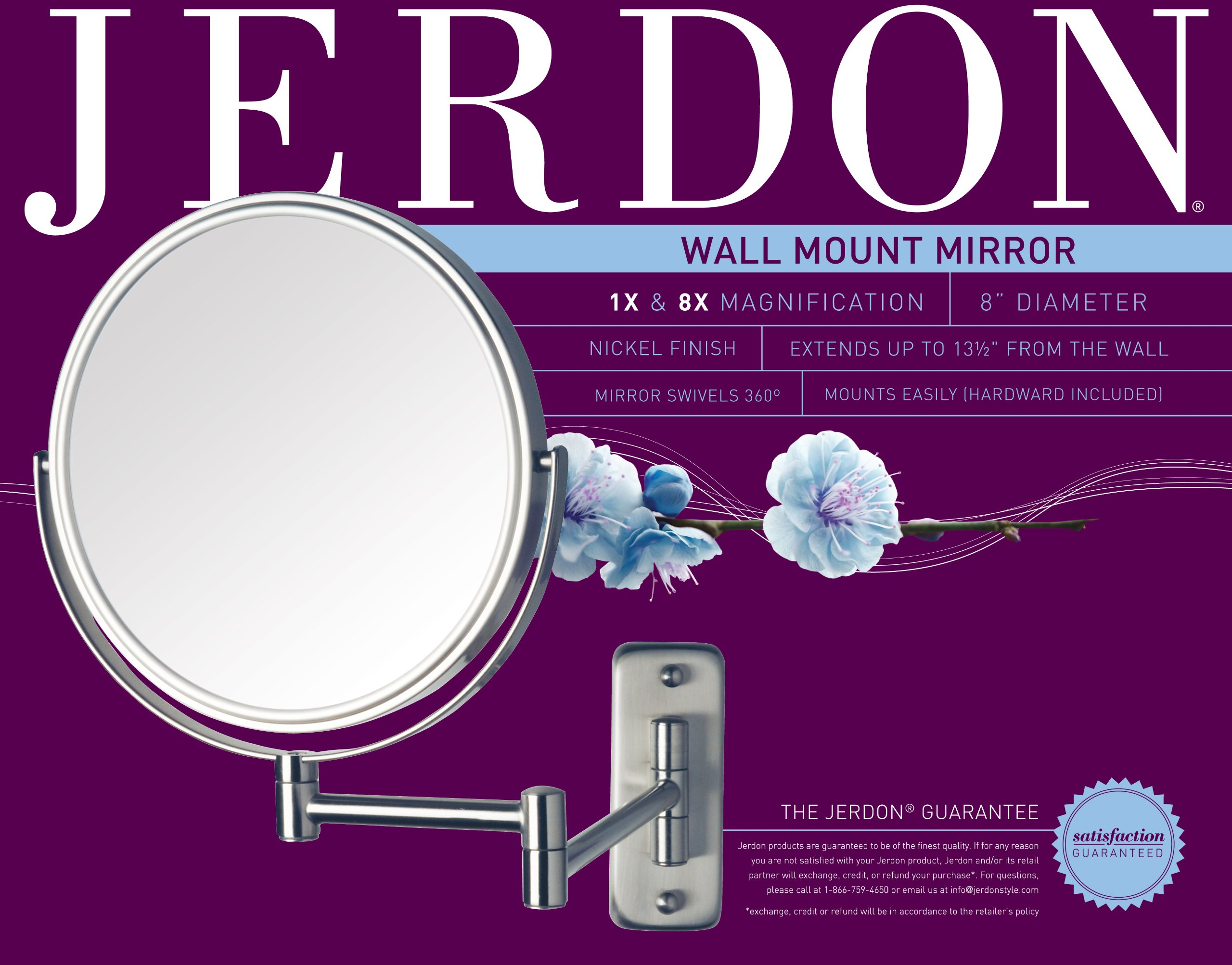 Jerdon JP7808N 8-Inch Two-Sided Swivel Wall Mount Mirror with 8x Magnification, 13.5-Inch Extension, Nickel Finish by Jerdon (Image #3)