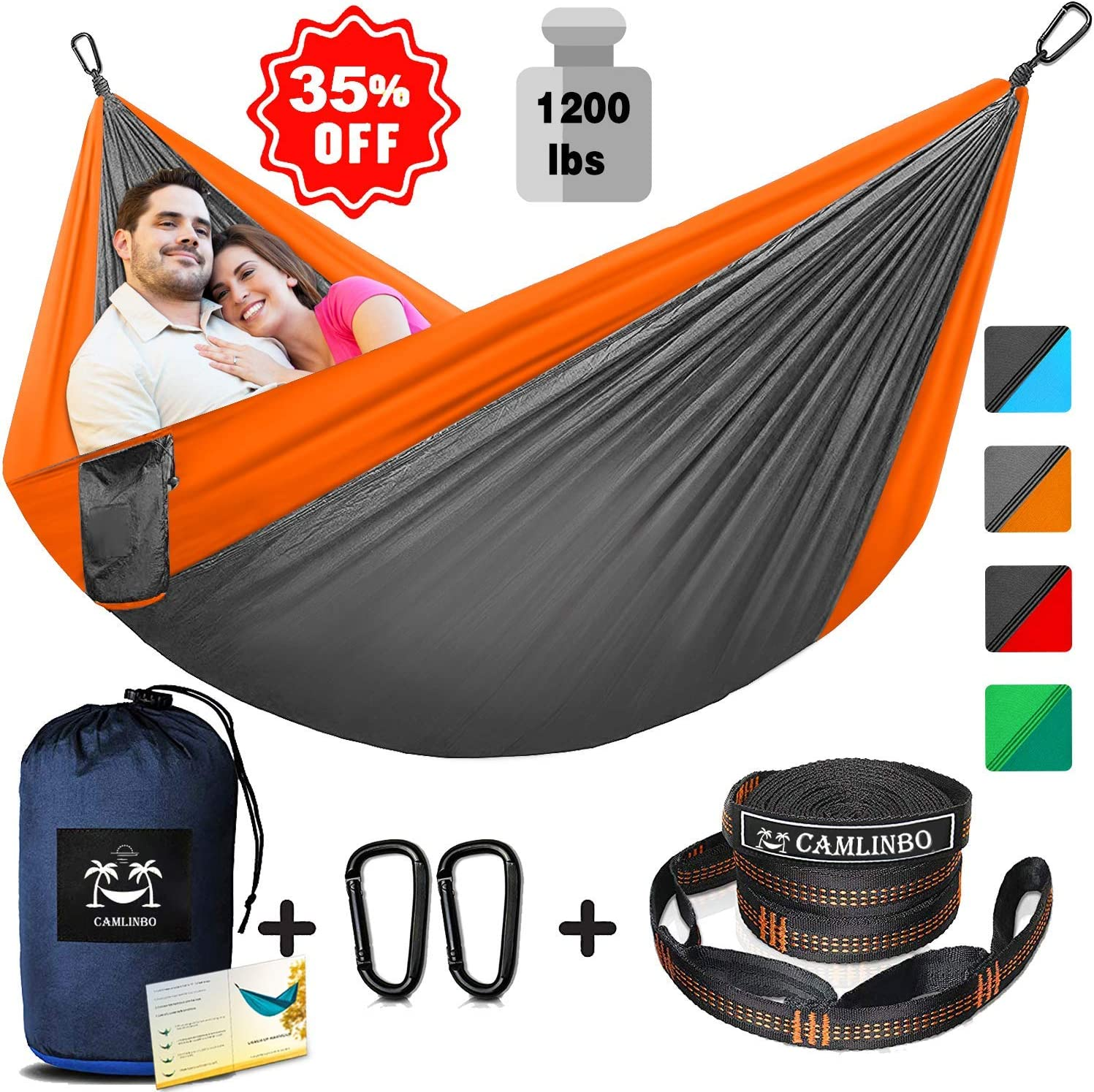 Single Double Camping Hammock with Tree Straps 10×8 Ft Support 1200 lb Lightweight Nylon Portable Hammock for Kids Adults Outdoor Backpacking Traveling Camping Hiking Swing Indoor
