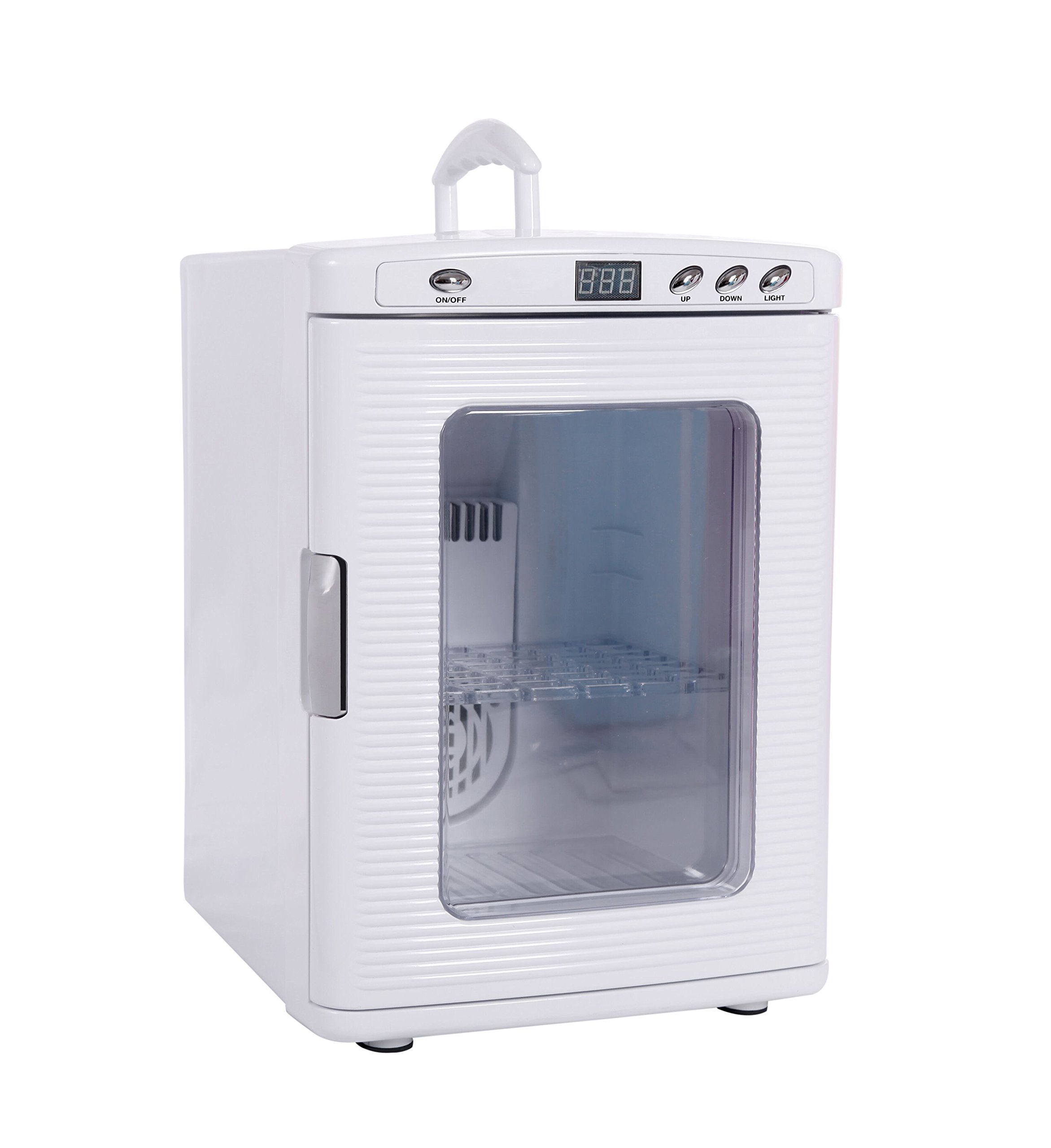 Portable 25L Mini Fridge Electric Cooler and Warmer Travel Refrigerator, DC 12V / AC 110V Thermoelectric System with Mute setting for Home, Office, Car & Boat, 41℉-140℉ (White)
