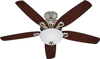 Hunter Fan Builder Deluxe Ventilador de techo con luz níquel ...