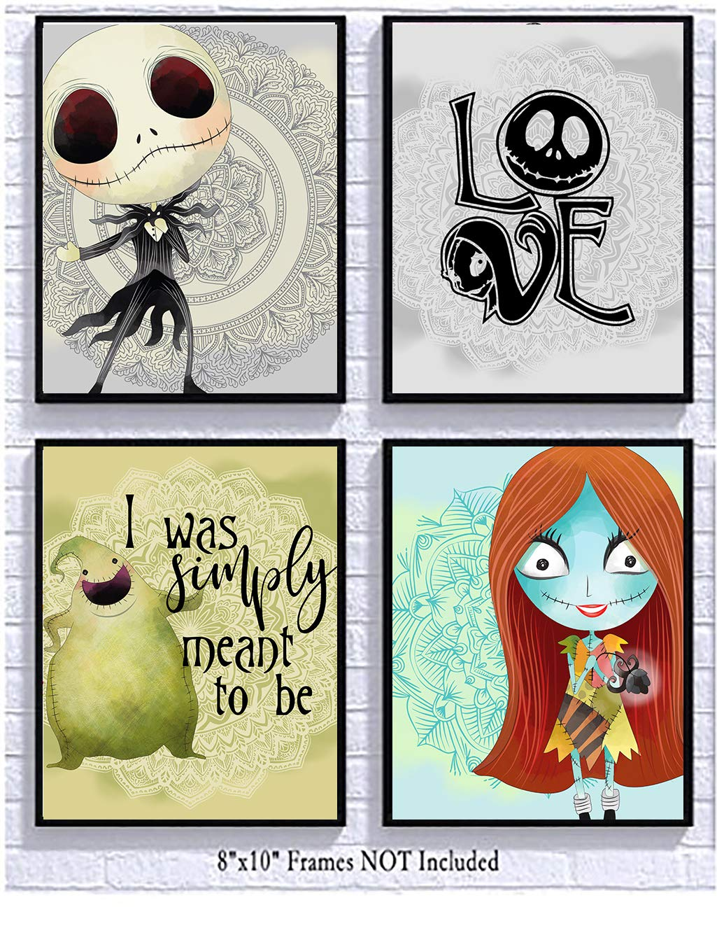 Silly Goose Gifts Nightmare Before Christmas Themed Character Wall Art Decor Baby Nursery Love (4pc Love Art Set)