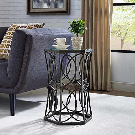 Modway Circle Modern Farmhouse 19 5 Round Cast Iron Side End Table Furniture Decor