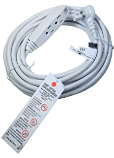 Barium Electric 25 Ft. Extension Cord Angled Plug White 25 Foot | 16 AWG |