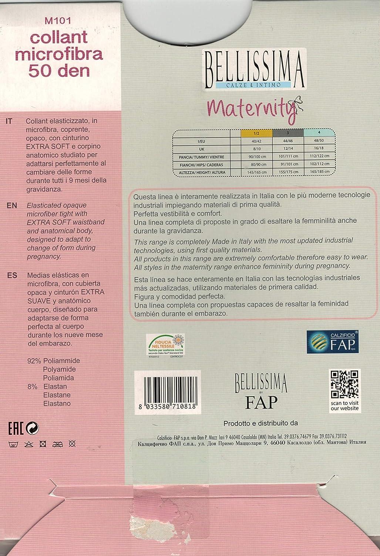 Bellissima 2 Paia Collant Premaman Microfibra 50 Den 100/% Made In Italy Calze Contenitive Gravidanza Vestibilit/à Comfort Fino A 9 Mesi