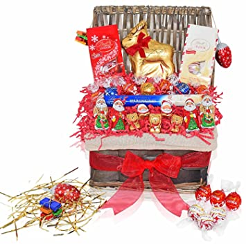 lindt christmas chocolate variety gift baskets chocolate candy gift basket with truffles santas