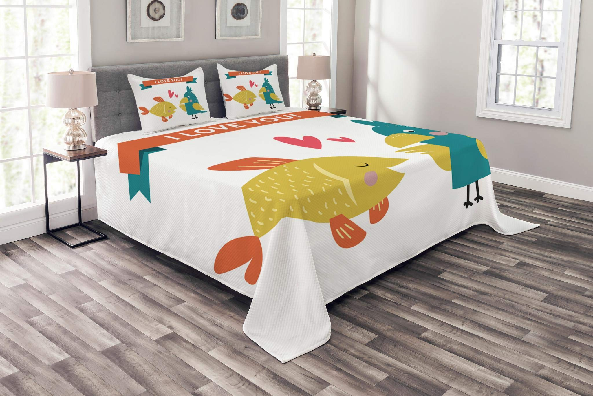 Lunarable Animals Bedspread Set Queen Size, Fish Parrot Conflicting Feelings Animal Soulmates Caring Each Other, Decorative Quilted 3 Piece Coverlet Set with 2 Pillow Shams, Teal Dark Orange Mustard