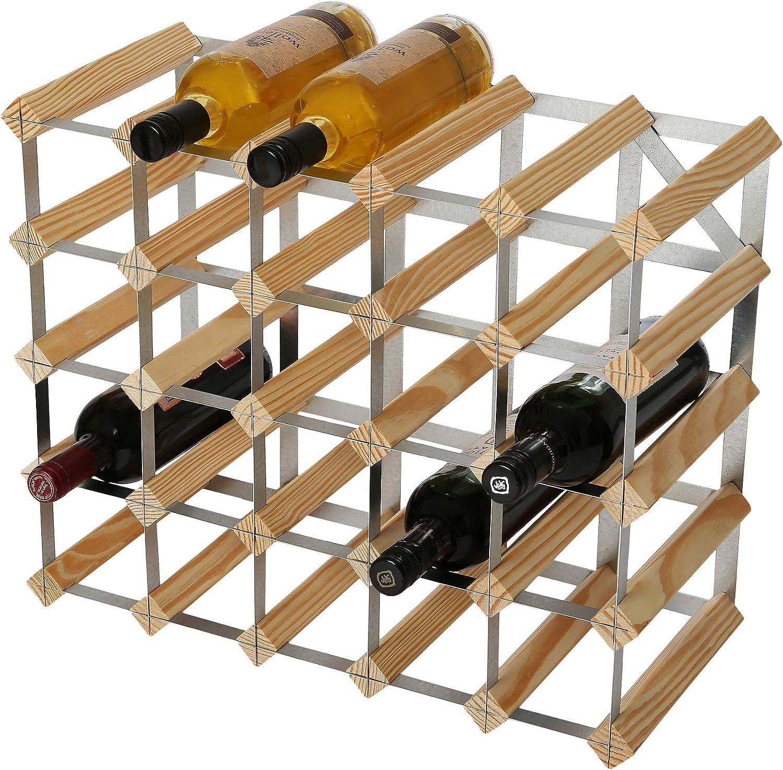 RTA - Juego de 25 Botellas de Vino Tradicional (Pino Natural (FSC), Madera