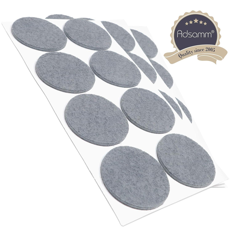 Adsamm/® /Ø 50 mm 24 x Filzgleiter rund 3.5 mm starke selbstklebende Filz-M/öbelgleiter in Top-Qualit/ät Grau
