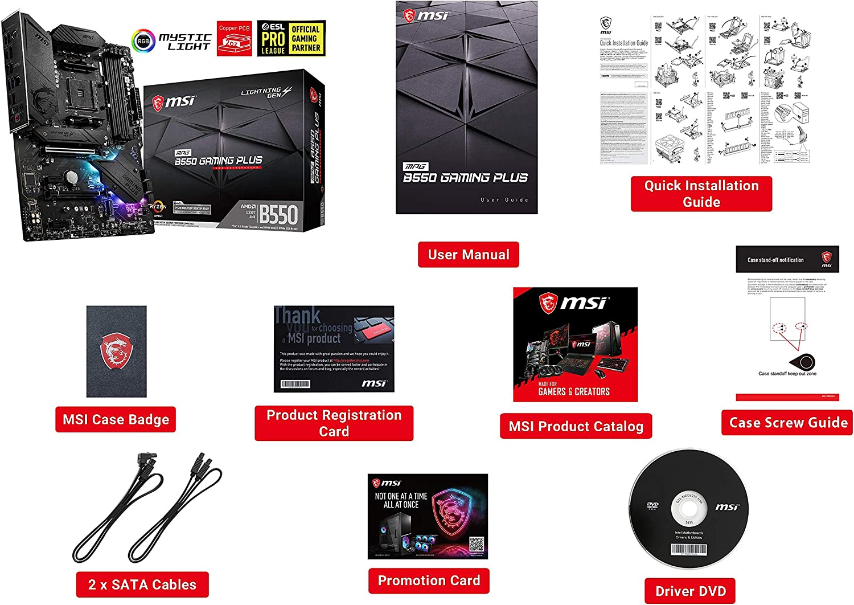 USB 3.2 Gen2 LAN MSI MPG B550 GAMING PLUS Motherboard ATX AM4 AMD RYZEN 3000 3rd Generation Dual M.2 HDMI Mystic Light RGB Front Type-C DDR4 DisplayPort