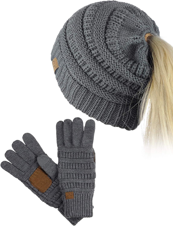 C.C BeanieTail Messy High Bun Cable Knit Beanie and Anti-Slip Touchscreen Gloves Set
