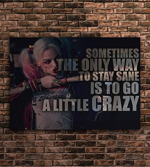Harley Quinn Poster Quotes Wall Art Print 23x33 inches