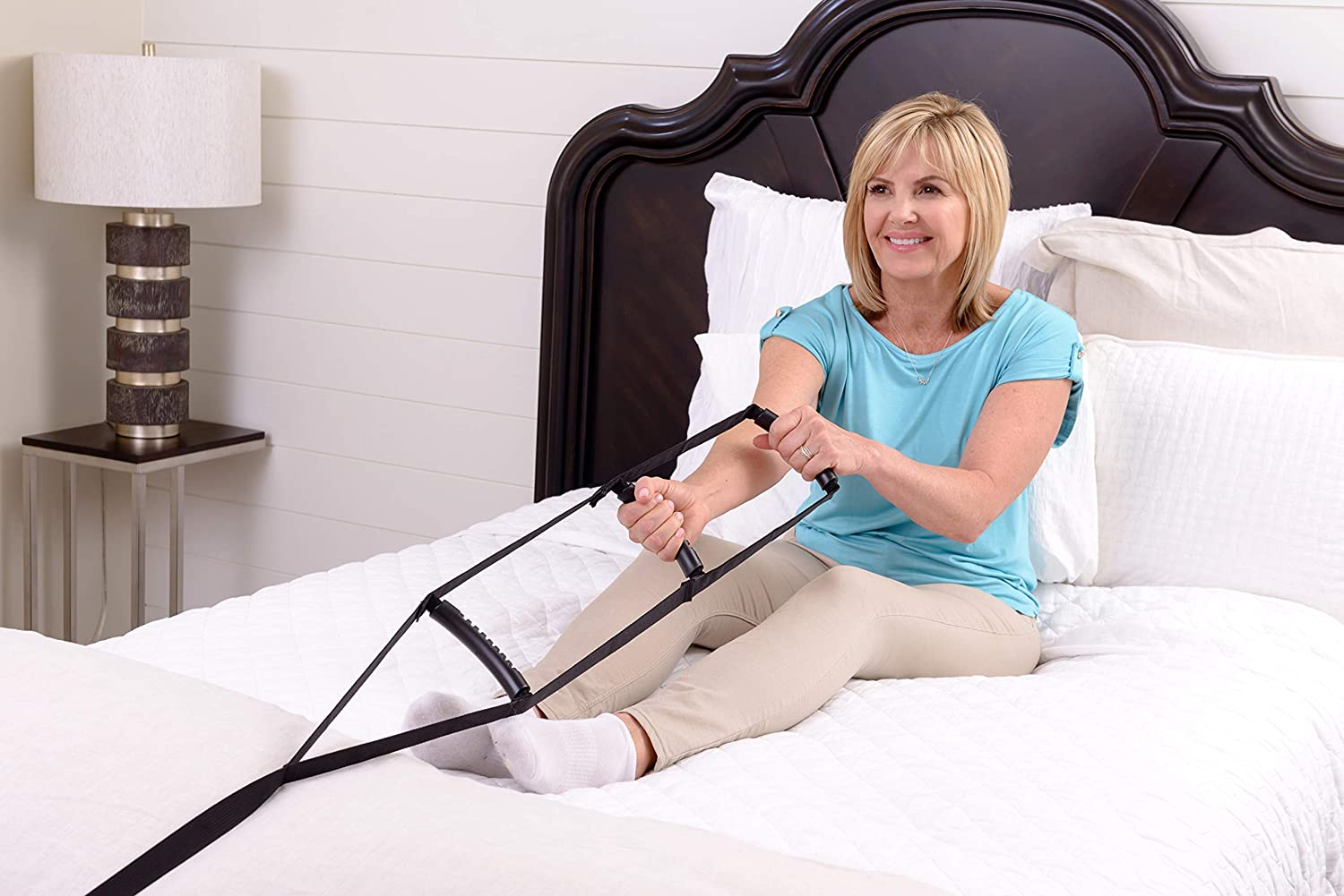 Stander BedCaddie Bed Ladder Sit-Up In-Bed Support Assist Handle with Adjustable Nylon Strap, Three Ergonomic Hand Grips
