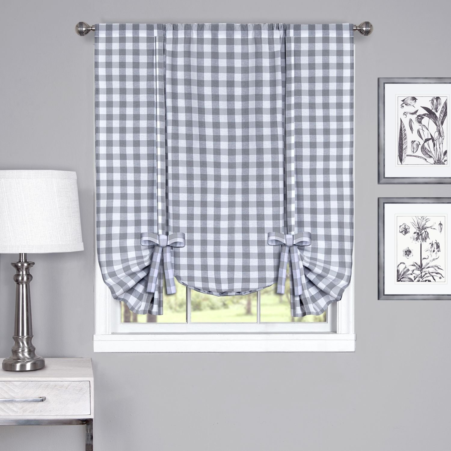 "Achim Home Furnishings Buffalo Check Window Curtain Tie Up Shade, 42"" x 63"", Grey & White"