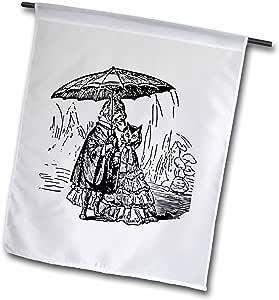Florene Vintage - Black n White Vintage Dog n Cat Under Umbrella - 18 x 27 inch Garden Flag (fl_46600_2)