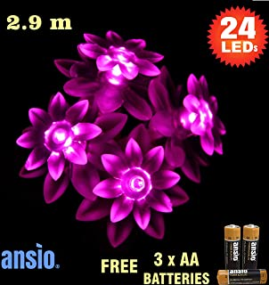 24 Pink Sunflower Indoor Fairy Lights LED String Lights - Battery Operated  - Ideal for Christmas