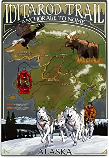 product image for Lantern Press Alaska, Iditarod Trail Topographic Map (12x18 Aluminum Wall Sign, Wall Decor Ready to Hang)