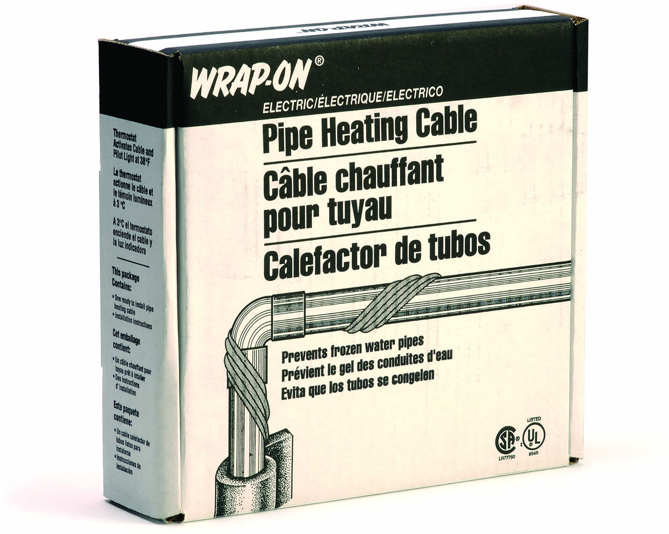 WRAP-ON Pipe Heating Cable - 45-Feet, 120 Volt, Built-in Thermostat, Low Wattage - 31045
