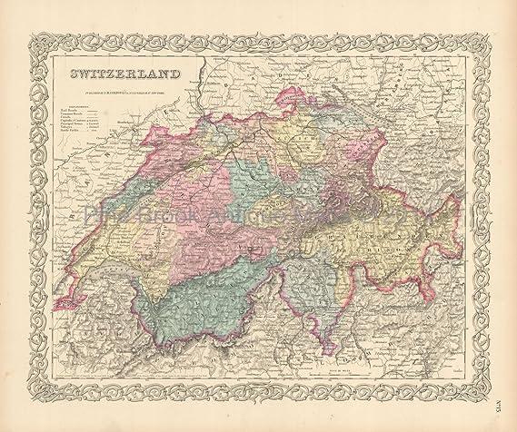 Authentic World Map.Switzerland Suisse Antique Map Colton 1856 Authentic Swiss Decor