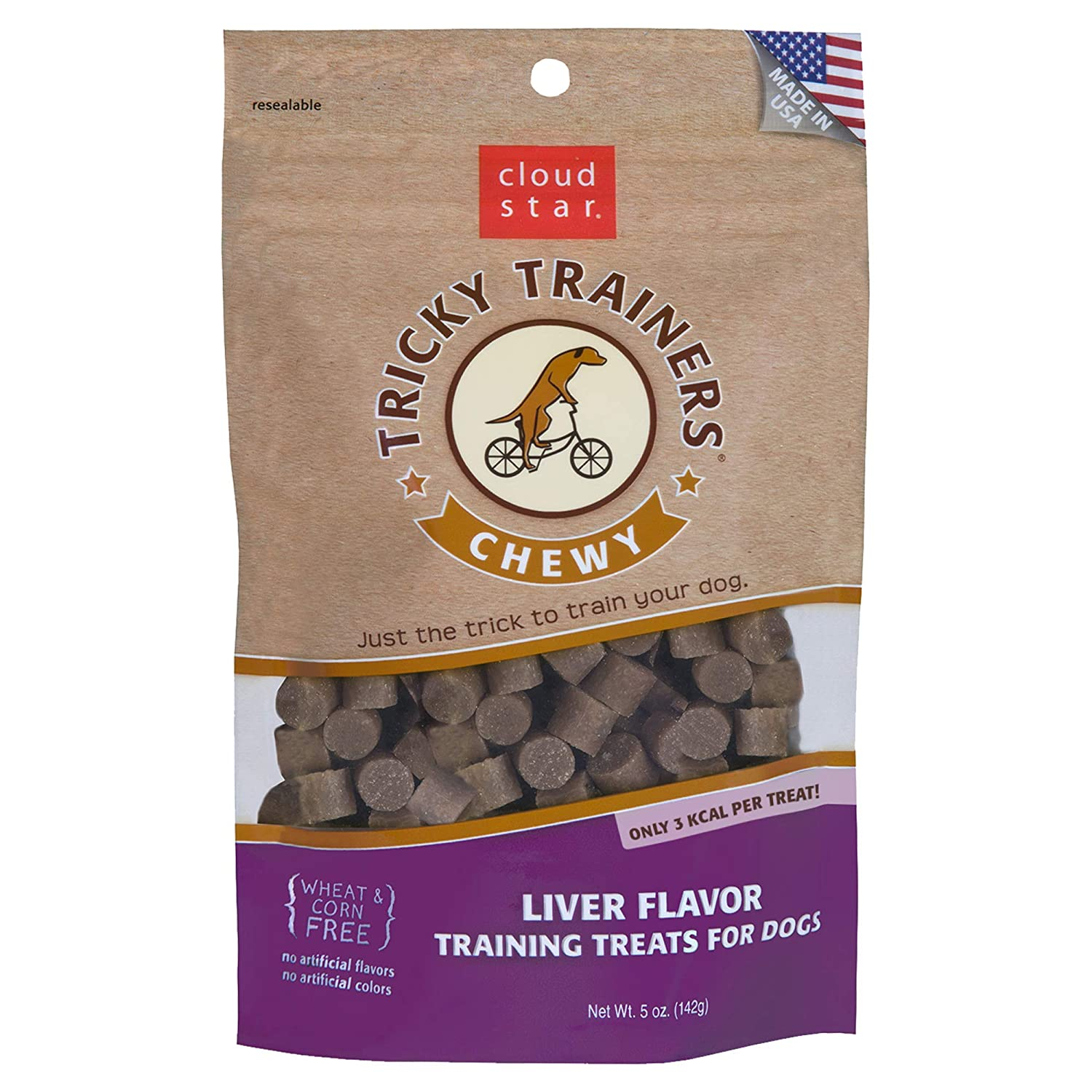Cloud Star Chewy Tricky Trainers, Liver, 5-Ounce Bags (Pack of 4)
