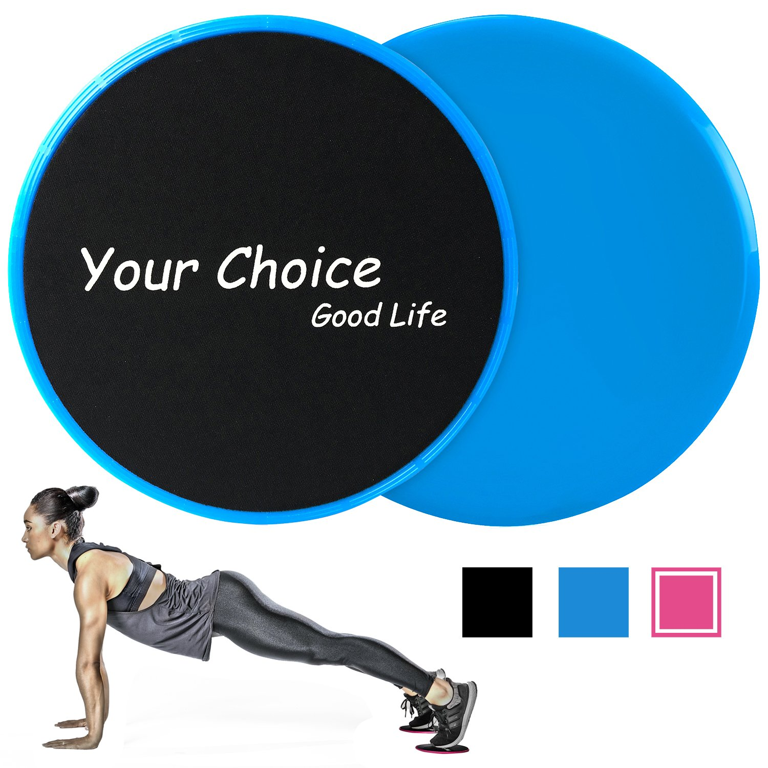 Your Choice Gliding Discs Sliders Fitness Core for Total Body Compact for Travel or Home Ab Workout, Color Blue Set of 2