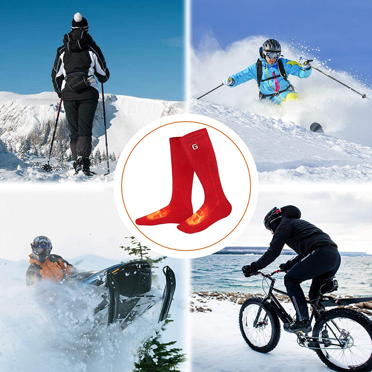 SVPRO Rechargeable Electric Battery Heated Socks,Men Women Warm Heated Socks,Sport Outdoor Indoor Warm Winter Heated Socks,Thermal Heating Foot Warmer Care Chronically Cold Person