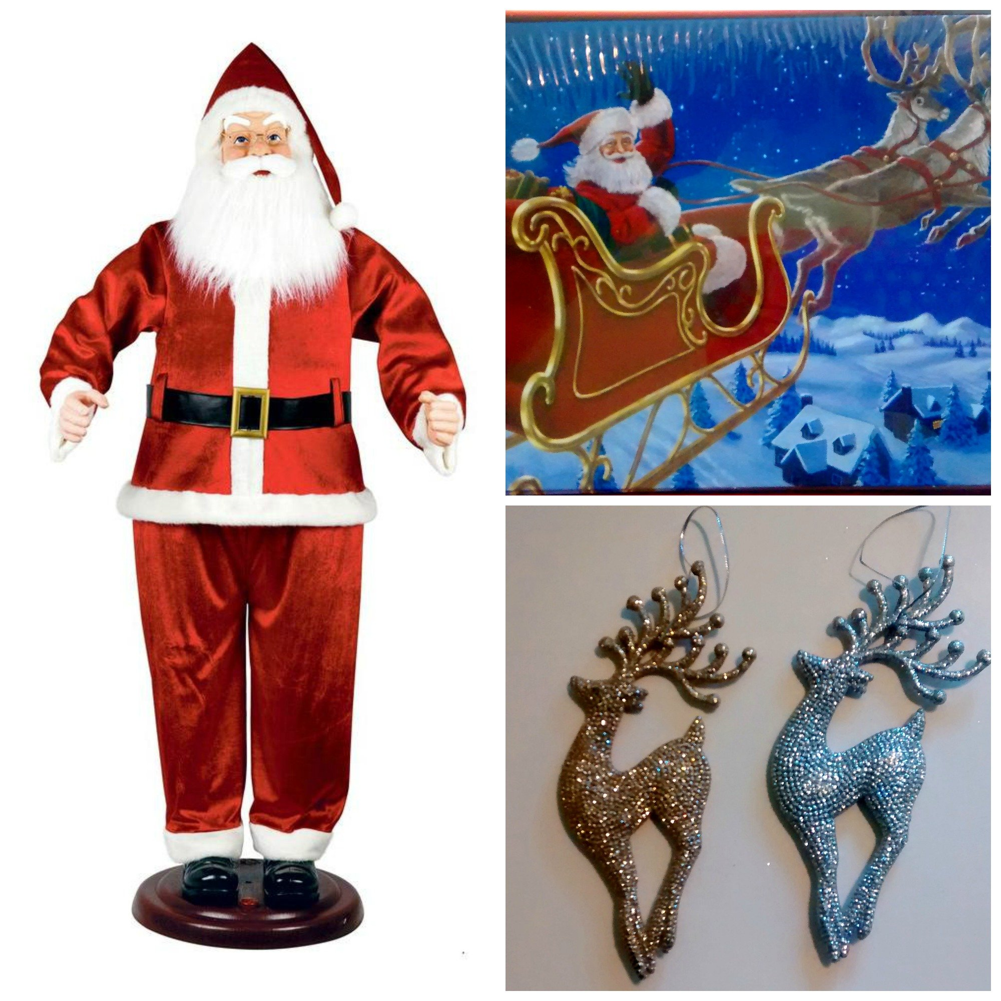 Home Accents Holiday 6 ft. (72 in.) Dancing Santa Bundle with Bonus Christmas Cards and Ornaments