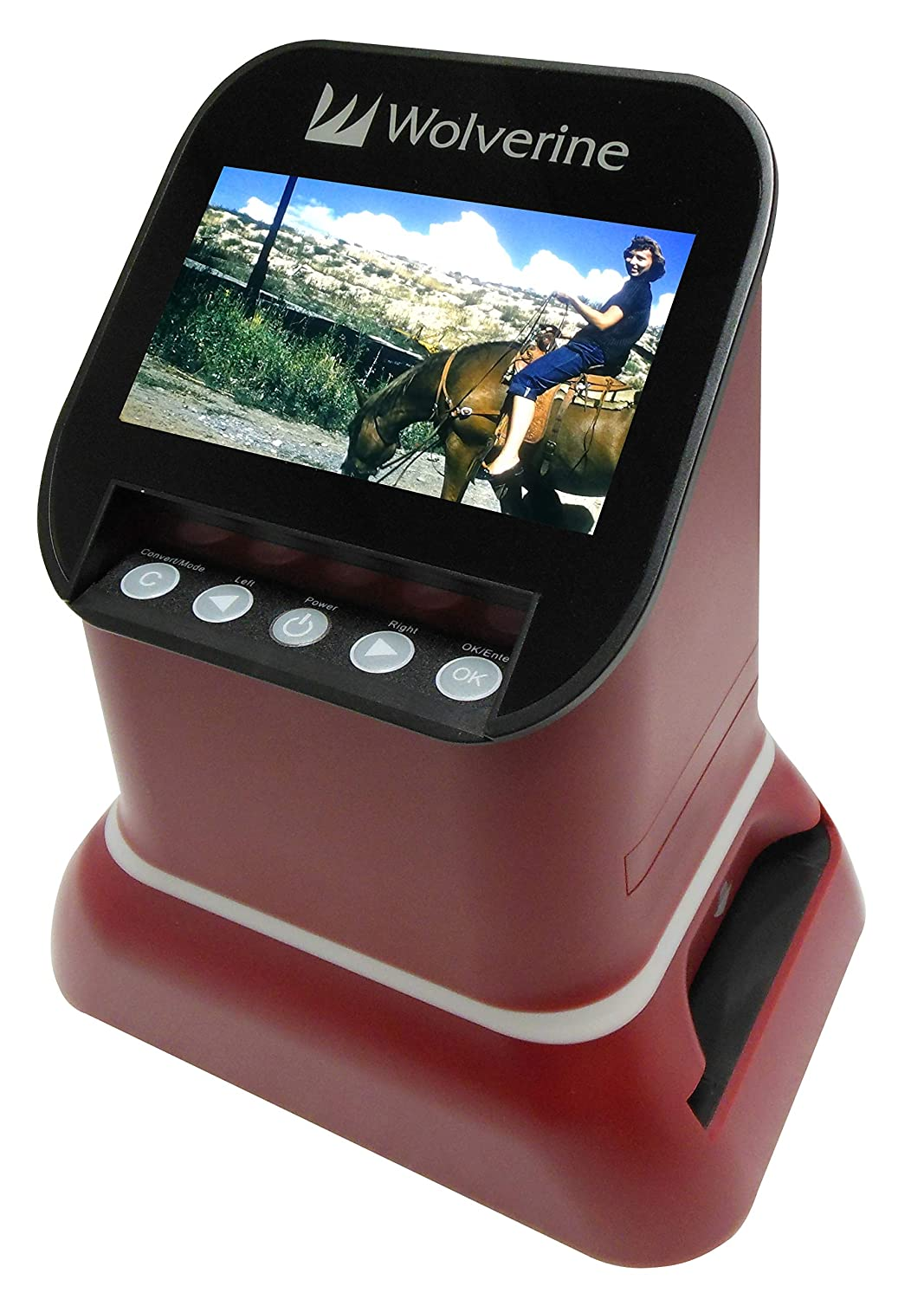 """Wolverine F2D Saturn Digital Film & Slide Scanner - Converts 120 Medium Format, 127 Film, Microfiche, 35mm Negatives & Slides to Digital - 4.3"""" LCD, 16GB SD Card, Z-Cloth & HDMI Cable Included (Red)"""