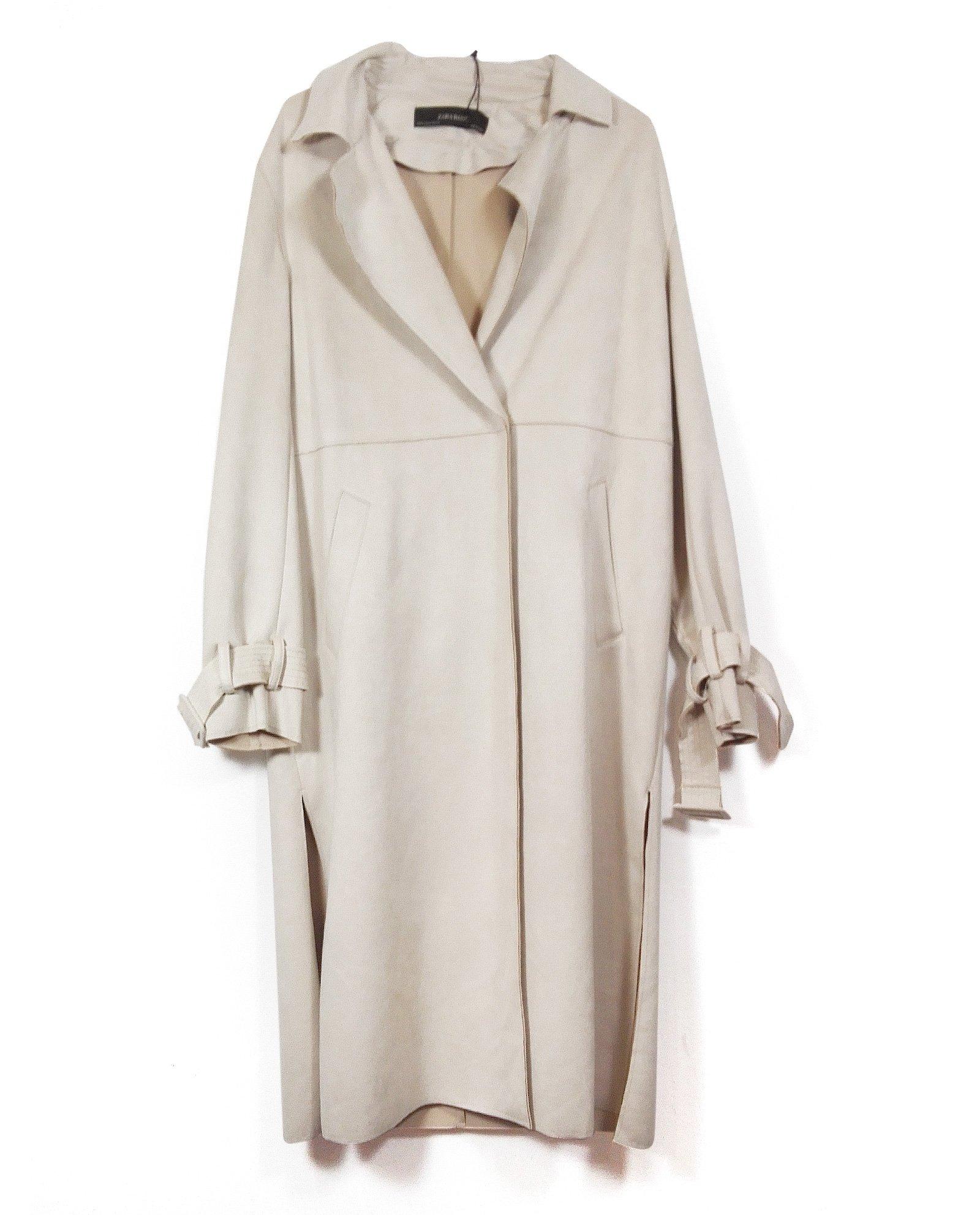 Zara Women Suede Effect Trench Coat 6318/025 (Small)