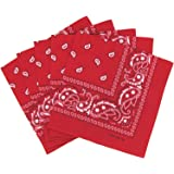 Lot de 5 bandanas paisley rouges