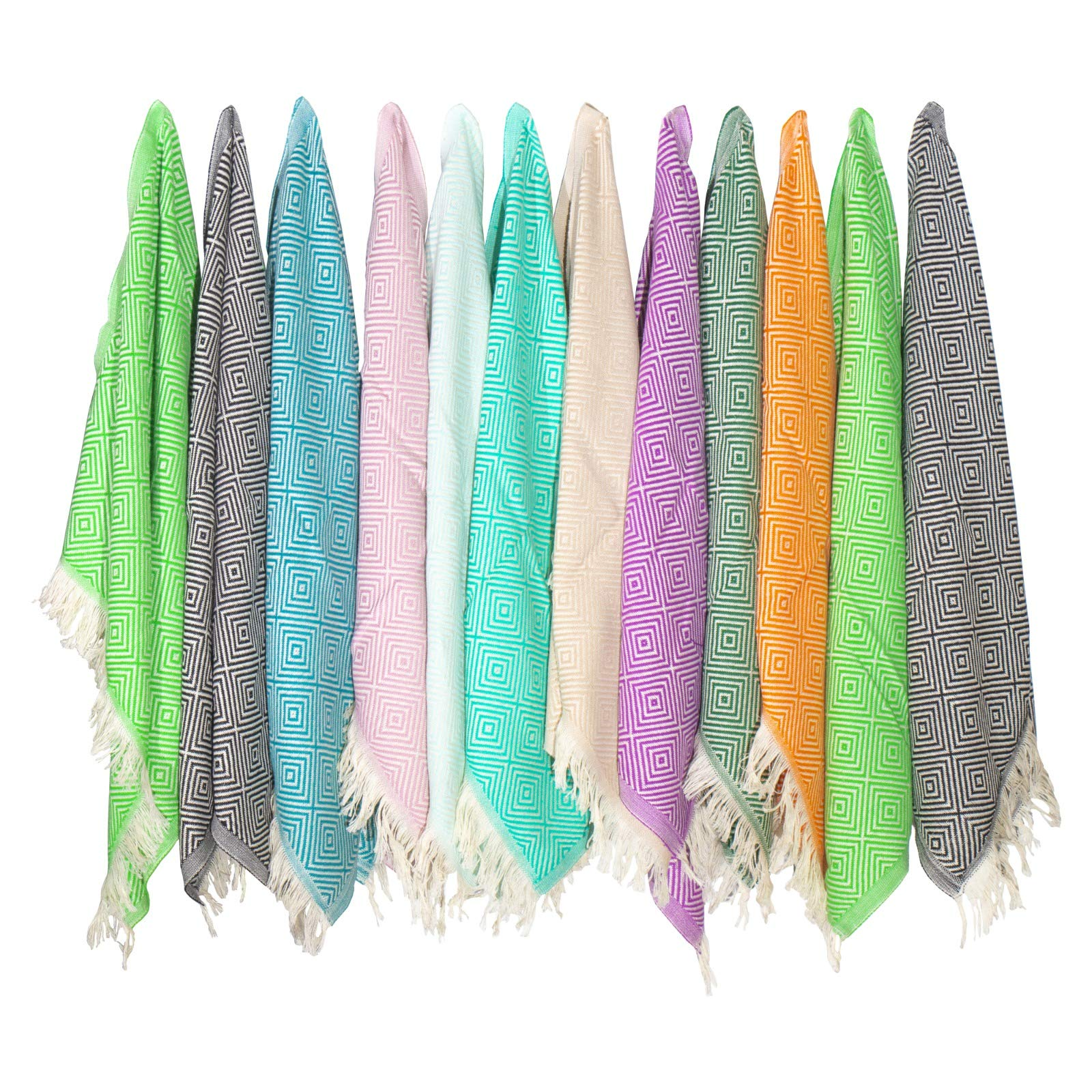 sohoconcept (Set of 12) Newest Diamond Weave Turkish 100% Cotton Hand Face Head Guest Gym Towel Set
