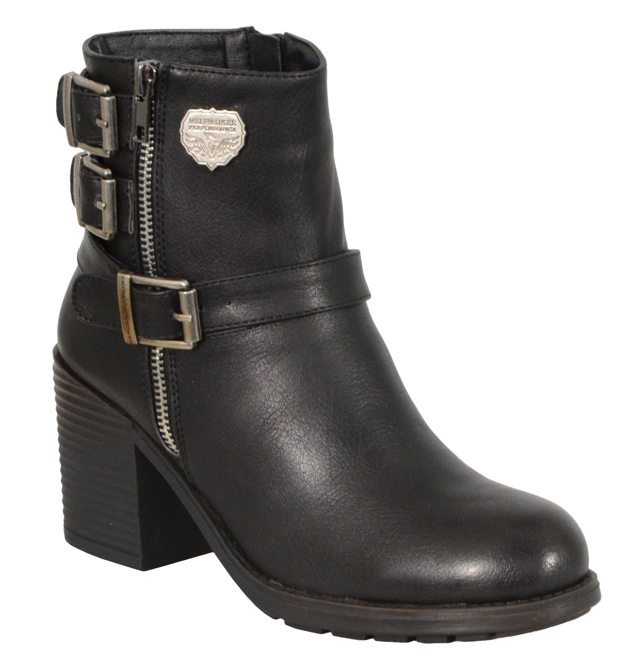 Milwaukee Performance Women's Triple Buckle Side Zip Boots with Platform Heel (Black, Size 9)