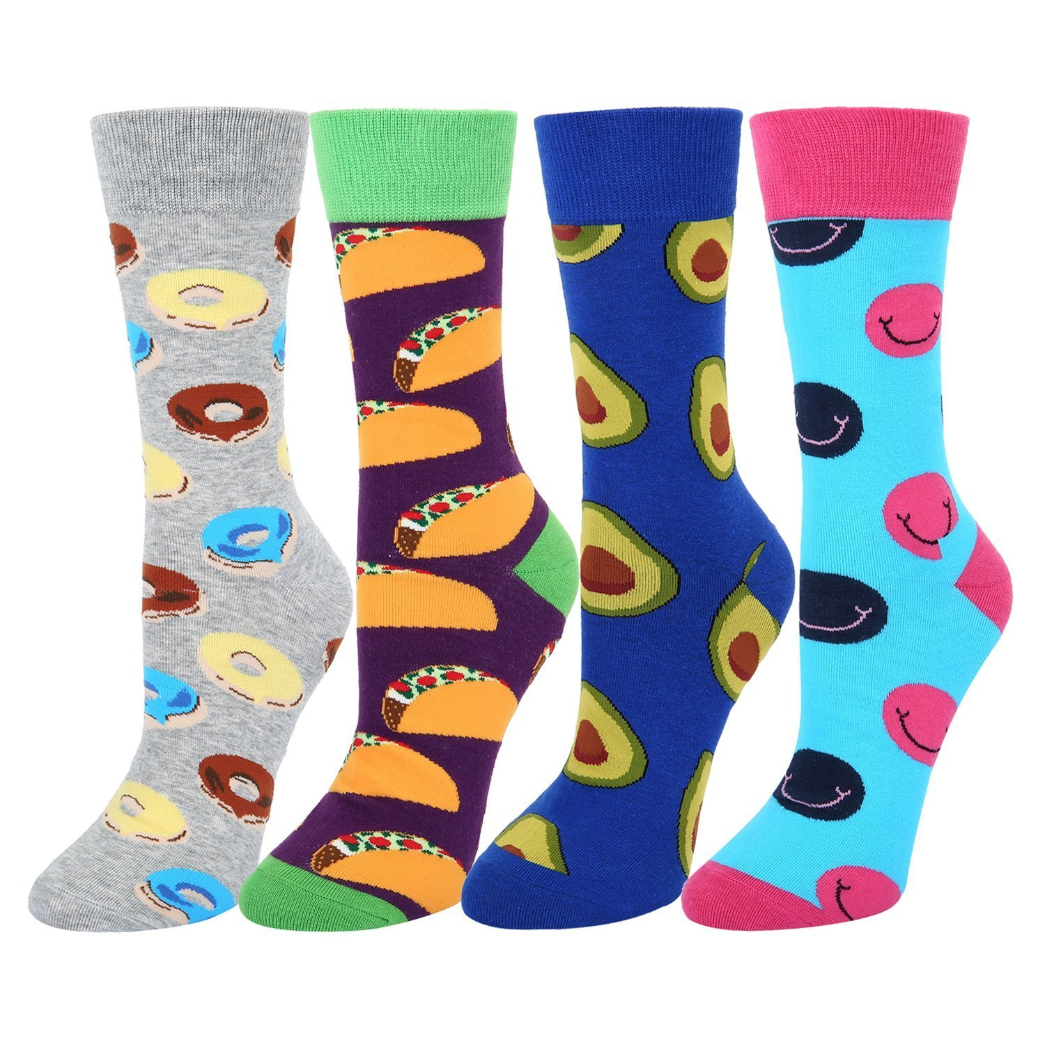 4 Pack Colorful Novelty Crazy Food Crew Socks,Donuts Tacos Avocado Smile Face Dress Socks for Women Girls