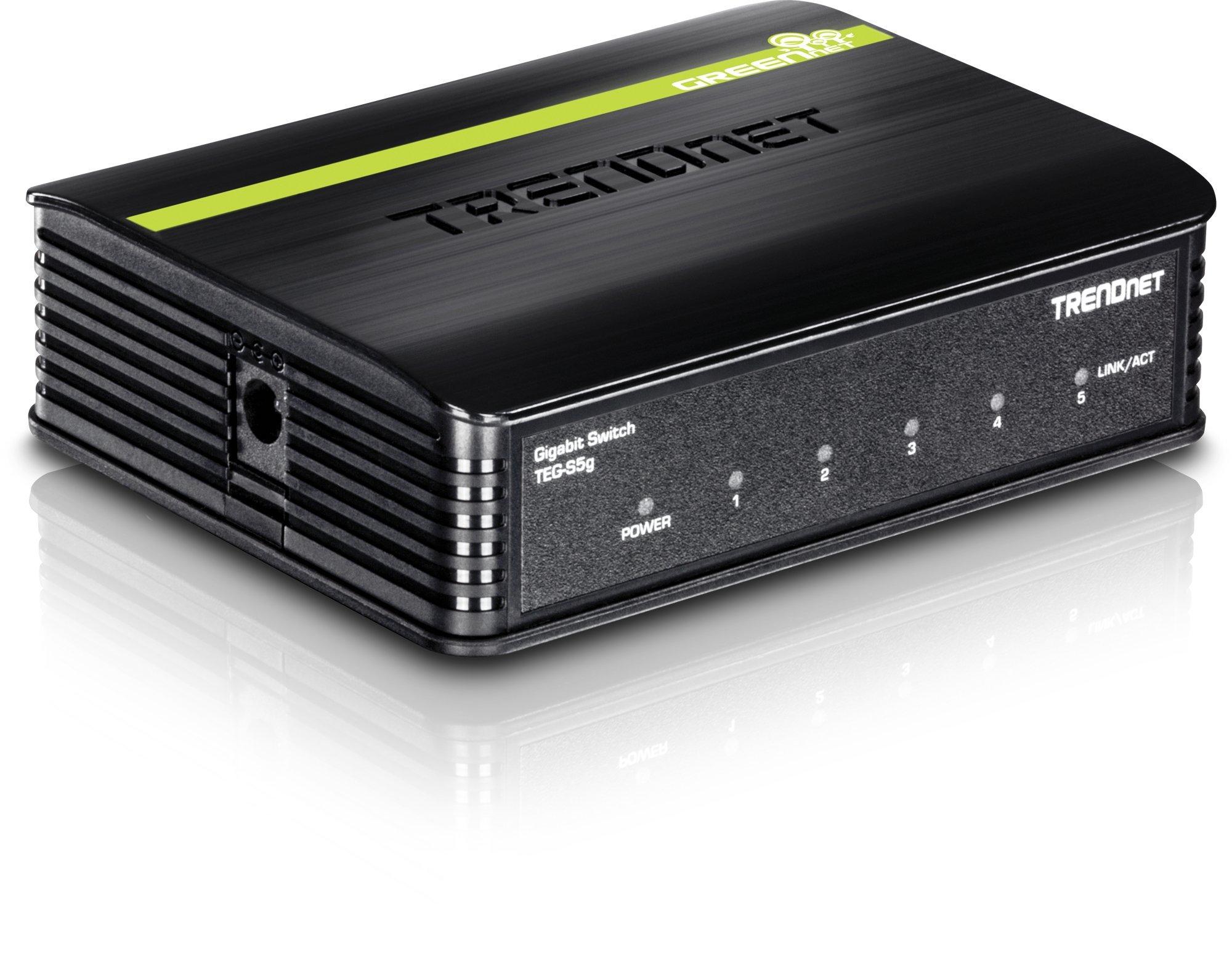 TRENDnet 5-Port Unmanaged Gigabit GREENnet Desktop Plastic Housing Switch, Plug & Play, 5 X Gigabit Ports, 10 Gbps, TEG-S5G by TRENDnet