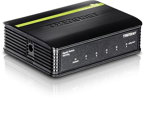 TRENDnet 5-Port Unmanaged Gigabit GREENnet Desktop Plastic Housing Switch, Plug & Play, 5 X Gigabit Ports, 10 Gbps, TEG-S5G