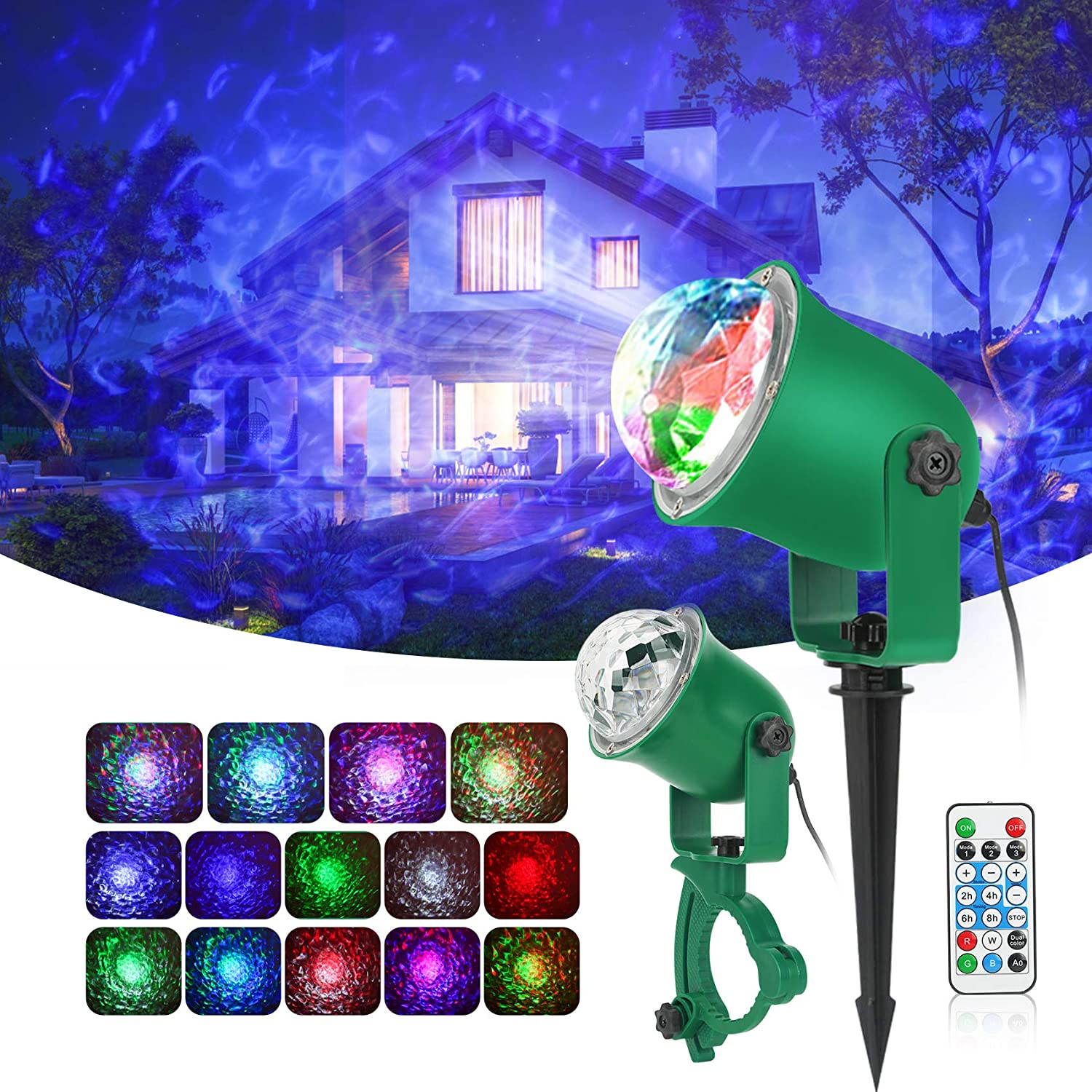 Ocean Wave Light Projector,Indoor Outdoor Holiday Projector Lights with Remote Control,Waterproof LED Landscape Light for Christmas Halloween Wedding Party Garden Landscape Wall Tree Decoration